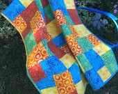 """49 X 39"""" Batik Lap Quilt, Blue and Orange Gender Non-specific Child's quilt, Modern Funky Small Couch Quilt, Awesome Picnic Quilt, Love Love"""