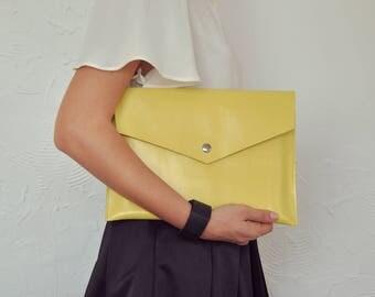 Yellow Clutch, Yellow Leather Clutch, Leather Clutch, Yellow Purse, Leather Handbag, Envelope Clutch