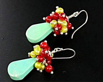 Green Turquoise, Pearl and Red Coral Cluster Earrings, Long Dangle Mixed Gem Earrings