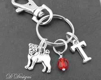 Pug Bag Charm, Pug KeyRing, Pug KeyChain, Pug Gifts, Dog Clip Keyring, Dog KeyChain, Dog Lovers Gifts
