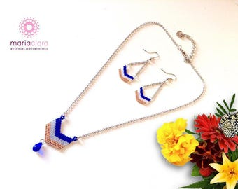 Chevron Necklace blue and gold
