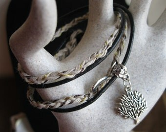 Leather Infinity Charm Wrap Bracelet ~ Silver Tree Charm ~ Braided Hemp Cord, Leather Cord