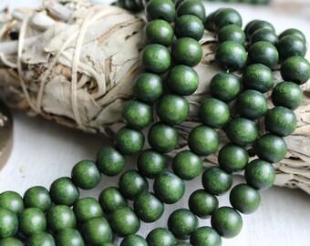 6mm wood beads, round wood beads, dark green beads, forest green beads, earthy beads, boho beads, fall strand,
