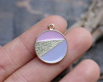 set of 5, circle disc charms, geometric charms, gold charms, enamel charms, 22mm x 18mm, pink charms, purple charms,