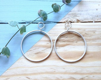 Silver hoops matt finish   Handmade recycled silver hoops   Lightweight earrings   Recycled packaging   Ethical gift.