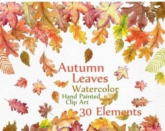 "ON SALE 30% Watercolor Leaves Clipart: ""AUTUMN Leaves Clipart"" Autumn Colors leaf clip art hand painted clipart Fall Leaf Autumn Decor insta"