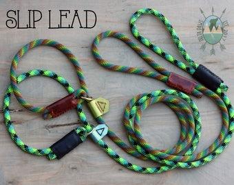 Slip Lead    CUSTOM Training, Adjustable Rock Climbing Rope Dog Leash    Handmade in the USA