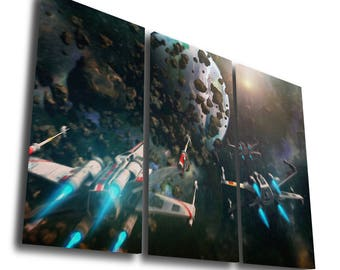 Star Wars X Wing Spaceship Battle Millenium Panorama Boba Fett Stormtrooper Painting Printed Canvas Wall Art Picture Home Décor Split Canvas