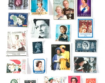 Queen Elizabeth II - Her Majesty - used postage stamps - a selection of 20, all different, from 10 countries, off paper