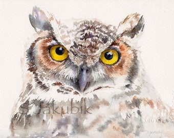 Great Horned Owl Watercolor Painting,  giclee print