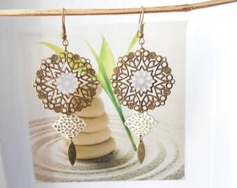 Earrings bronze ivory print