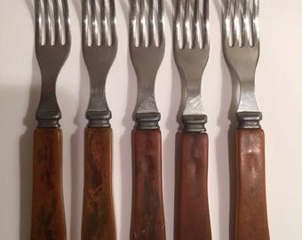 Vintage Bakelite Set of 5 Forks Marbled Amber Handles