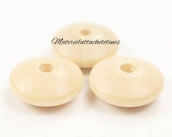 25 flat 10 mm wood beads