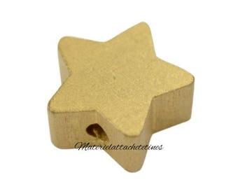 Gold Star wooden bead