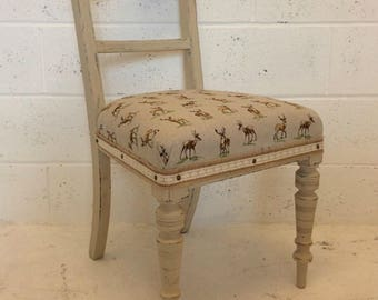 Vintage bedroom chair with upholstered seat hand painted