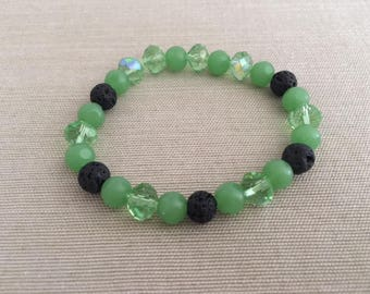 Emerald Eyes - Aromatherapy Essential Oil Diffuser Bracelet with Lava Beads