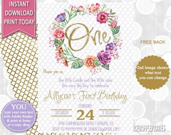 First Birthday, Birthday Invitation, Watercolor, 1st Birthday, Printable Invitation, Girl birthday, Watercolor Invite, Floral Invitation