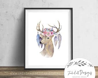 Boho Deer - Wall Art Print