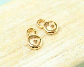 4x Heart Pendant mini 6mm gilded #4552