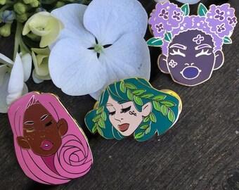 Bloom Enamel Pin Set - Original Design - Hard Enamel Feminist Pins