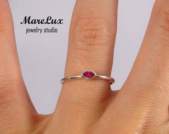 Stacking Marquise Cut Ruby Silver Ring, July Birthstone Ring, Synthetic Ruby Marquise Ring, Stackable Sterling Silver Marquise Ruby Ring