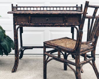 Gorgeous vintage tortoise shell bamboo desk with raffia top and cane chair, rattan desk and chair, rattan writing table, bauer international