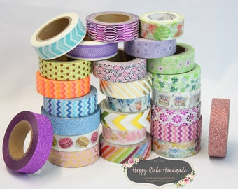 Washi Tape Grab Bag, 20 Rolls, Deco Tape, Masking Tape, Washi Decor, Planner Tape, Decorative Tape, Washi Grab Bag, Various Colors