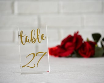 Clear Acrylic Gold numbers. Table Numbers. Event numbers. Wedding Table numbers.  Wedding signs. Numbers. Table decor numbers. Wedding table