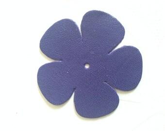 set of 10 leather blue 7 cm 5 petals flowers