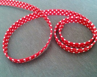 Red piping with white polka dots 10mm