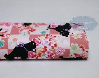 Japanese Neko and Sakura pink background fabric