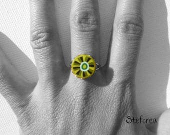 "Small ring ""green"" polymer clay silver lace 12mm"