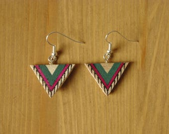 Painted wooden triangle earrings