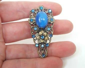Art Deco Dress Clip Blue  Brooch 1930s DRGM German Czech Glass Rhinestone Filigree Vintage Dress Clips UK