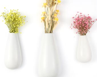 Set of 3 Teardrop Ceramic Vase Wall Mounted White Ceramic Planters for Flowers Indoor Decoration for Plants Gifts for Mothers