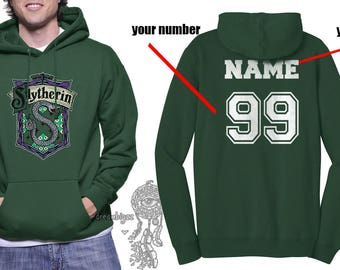 Custom on back, Slyth Crest #2 Color printed on Forest green Hoodie