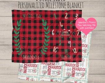 Baby Monthly Milestone Blanket - Rustic Baby - Rustic Baby Blanket Bedding -  Baby Growth Gift - Baby Name Blanket - Monogrammed Blanket -