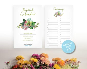 Printable Perpetual Calendar - Exotic Flower Editable Pdf Calendar - Eternal Birthday, Anniversary Calendar - Instant Download PDF