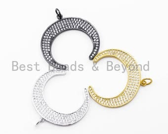 CZ Micro Pave Crescent Moon Pendant, CZ Pave Horn Findings,  Micro Paved Horn Pendant, 20x23mm, sku#F142