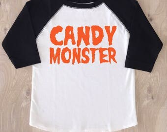 Candy Monster/Funny Halloween T-shirt/Kid's Halloween T-shirt/Boy's Halloween Shirt/Girl's Halloween Shirt/Cute Boy's Halloween Shirt