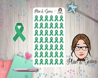 Green Awareness Ribbon Stickers, Kidney Cancer Leukemia Awareness Ribbon, Green Ribbon, Bullet Journal, Happy Planner, FUN-282