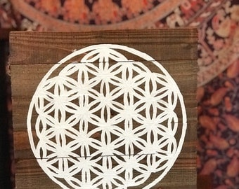 Flower of Life, Wood, painting, flower of lufe painting, home decor, bohemian, boho chic, wall hanging, sacred geometry