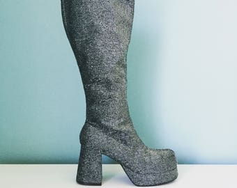 Vintage Silver Glitter Platform Boots
