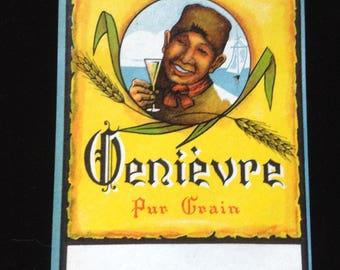 Vintage Genièvre Pur Grain liquor label, 1930's