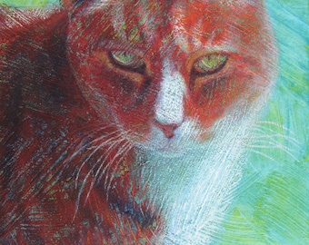 """Your Cat in Color with Texture & Emotion - 8""""x 10"""""""