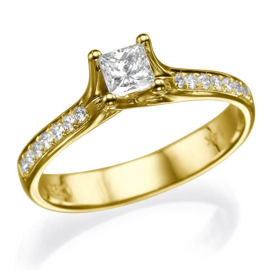 Dainty Wedding Ring Diamond Ring Engagement Ring Square Wedding