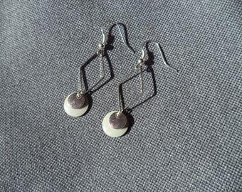 Sequin gray enamel earrings and silver diamond ring