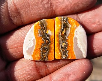 New year sale 29.45cts Bumblebee Pair natural Gemstone ,cabochon , smooth, fancy  shape,  22x16x3mm  size, AM126