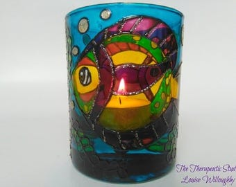 Tropical, doodle, Fish, aquarium, hand painted, glass, art, candle holder, gift, home decor