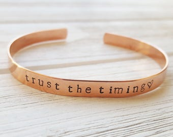 Trust the Timing | Hand-Stamped Cuff Bracelet, Mindfulness Gift, Stamped Bracelet Trust the Timing of Your Life Quote, Inspiration Yoga Gift